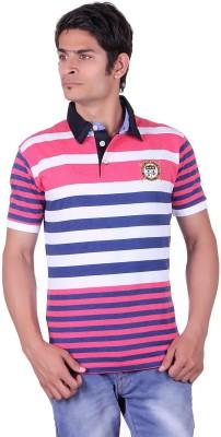 JAYIS Striped Men's Polo Neck Pink T-Shirt