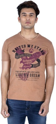 Integriti Printed Men's V-neck Brown T-Shirt