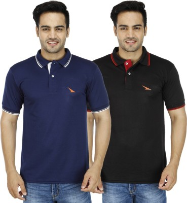 PRO Lapes Solid Men's Polo Neck Black, Dark Blue T-Shirt