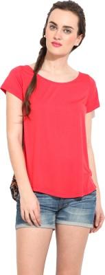 Rena Love Solid Women's Round Neck Red T-Shirt