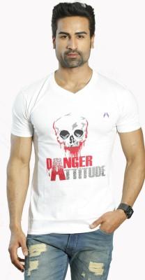 ALBITEN Printed Men's V-neck White T-Shirt
