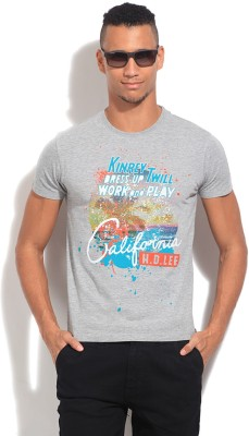 Lee Printed Men's Round Neck Grey T-Shirt