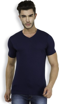 The Indian Garage Co. Solid Men's V-neck Dark Blue T-Shirt