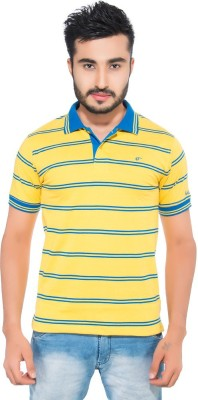 Fabilano Striped Men's Polo Neck Yellow T-Shirt