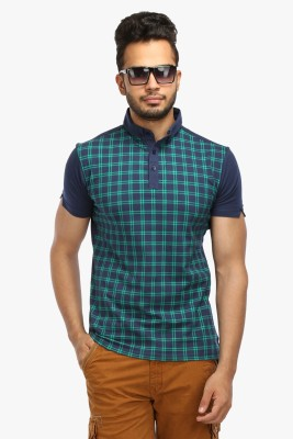 Wear Your Mind Checkered Men's Polo Neck Blue T-Shirt