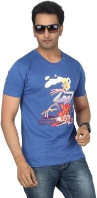Bandarwalla Graphic Print Men,s Round Neck Blue T-Shirt