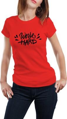 Girlful Printed Women's Round Neck Red T-Shirt