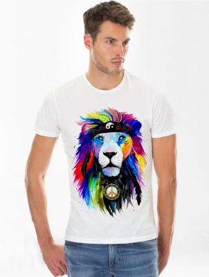 Funkd Graphic Print Men's Round Neck White T-Shirt
