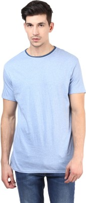 T-shirt Company Solid Men's Round Neck Blue T-Shirt