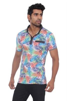 Pezzava Self Design Men's Flap Collar Neck Reversible Orange, Blue T-Shirt