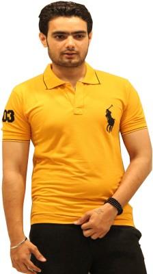 GOPAL EMPORIUM Solid Men's Polo Neck Gold T-Shirt