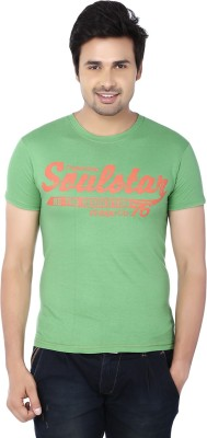 Zachi Printed Men's Round Neck Green, Orange T-Shirt