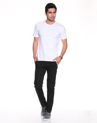 Purys Solid Men,s Round Neck White T-Shirt