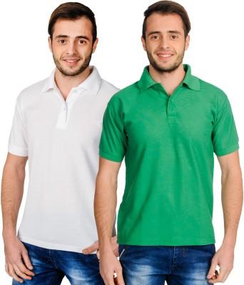 Superjoy Solid Men's Polo Neck White, Green T-Shirt