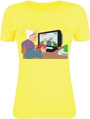 Gabi Printed Women's Round Neck Yellow T-Shirt