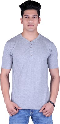 Lluminati Solid Men's Henley Grey T-Shirt