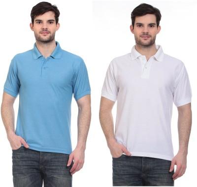 Blue-Tuff Solid Men,s Polo Neck Light Blue, White T-Shirt