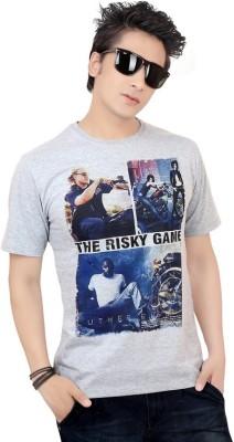 Zootx Printed Men's Round Neck Grey T-Shirt