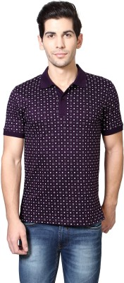 Van Heusen Printed Men's Polo Neck Purple T-Shirt