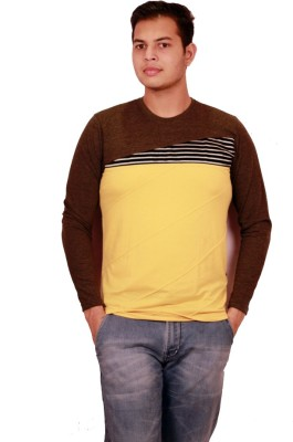 Etyhas Collections Solid Men's Round Neck Brown T-Shirt