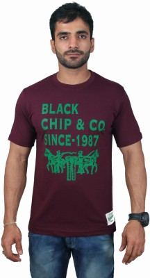 Black Chip Printed Men's Round Neck Multicolor T-Shirt