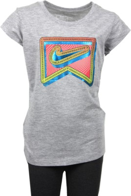Nike Kids Printed Girl's Round Neck Grey T-Shirt