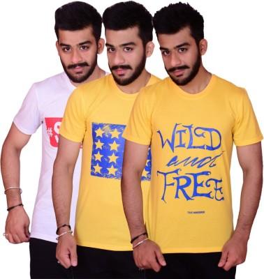 Inez Printed Men's Round Neck White, Yellow, Yellow T-Shirt