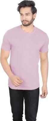 LUCfashion Solid Mens Round Neck Pink T-Shirt