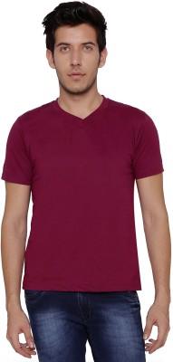 Threadz Solid Men's V-neck Purple T-Shirt