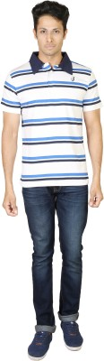 Being Odia Striped Men's Polo Neck White, Blue T-Shirt
