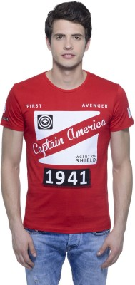 Captain America Printed Men's Round Neck Red T-Shirt