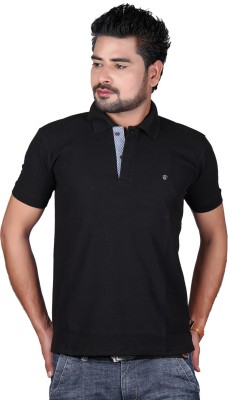 Cute Collection Solid Men's Polo Neck Black T-Shirt
