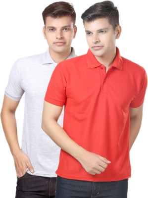 eSOUL Solid Men's Polo Neck Grey, Red T-Shirt