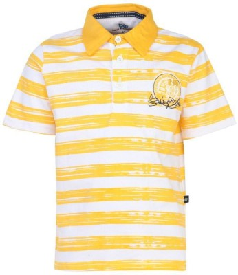 Bells and Whistles Printed Boy's Polo Yellow T-Shirt