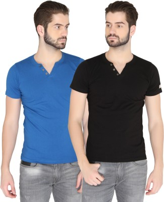 Chromozome Solid Men's Round Neck Black, Blue T-Shirt