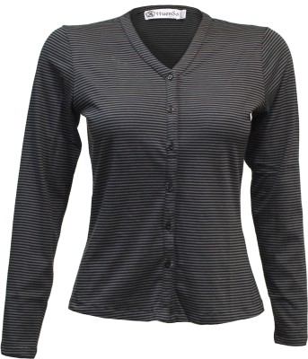 Attuendo Striped Women's V-neck Black, Grey T-Shirt