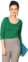 Miss Chase Women's Clothing - Miss Chase Solid Women's Round Neck Green T-Shirt