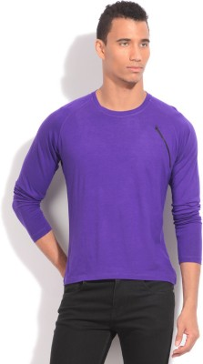 Flippd Solid Men's Round Neck Purple T-Shirt