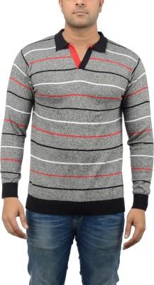 Blue Heaven Striped Men's Polo Neck Multicolor T-Shirt