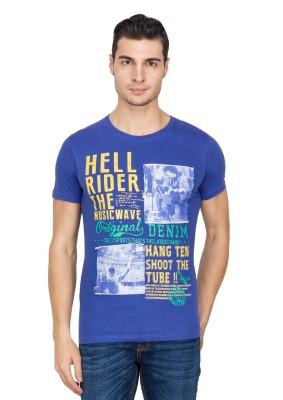 IQ Printed Men,s Round Neck Dark Blue T-Shirt