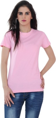 The Cotton Company Solid Women's Round Neck Pink T-Shirt