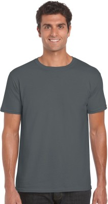 NUVA Solid Men's Round Neck Grey T-Shirt