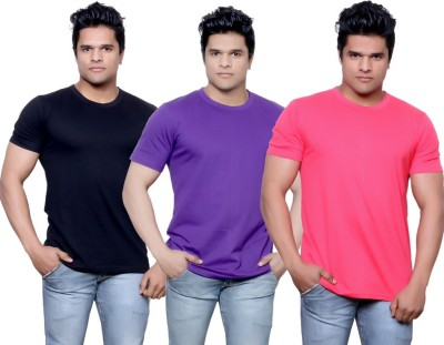 IndiStar Solid Men's Fashion Neck Black, Purple, Pink T-Shirt