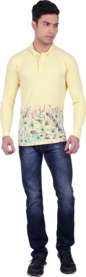 Black Sparrow Printed Men's Polo Neck Yellow T-Shirt