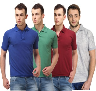 Lime Solid Men's Polo Neck Blue, Green, Maroon, Grey T-Shirt