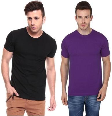 Lowcha Solid Men's Round Neck Black, Purple T-Shirt