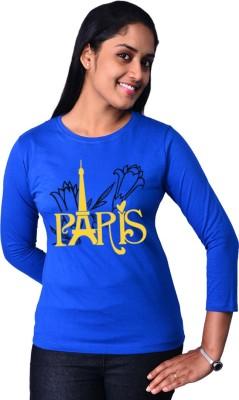 Zorba Mart Printed Women's Round Neck Blue T-Shirt
