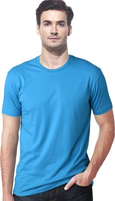Gallop Solid Men's Round Neck Blue T-Shirt