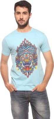 Dorzy Printed Men's Round Neck Blue T-Shirt