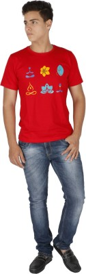 Desi Chowk Printed Men's Round Neck Red T-Shirt